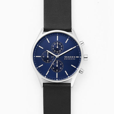 Skagen Men's Holst Chronograph Black Leather Watch SKW6606