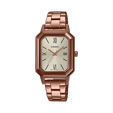 Casio Ladies' Analog Rose Gold Ion Plated Stainless Steel Band Watch LTPE168R-9B LTP-E168R-9B