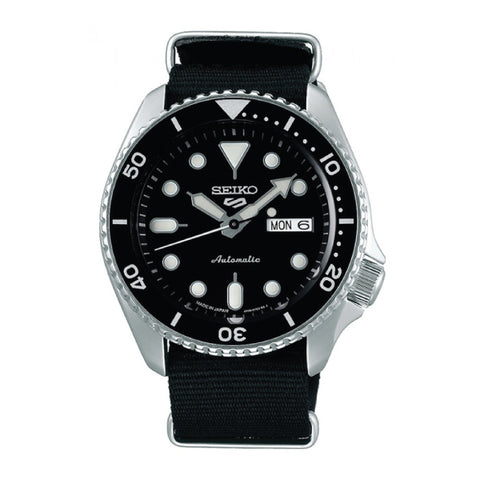 [JDM] Seiko 5 Sports (Japan Made) Automatic Black Canvas Strap Watch SBSA021