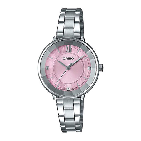 Casio Ladies' Analog Silver Stainless Steel Band Watch LTPE163D-4A LTP-E163D-4A | Watchspree