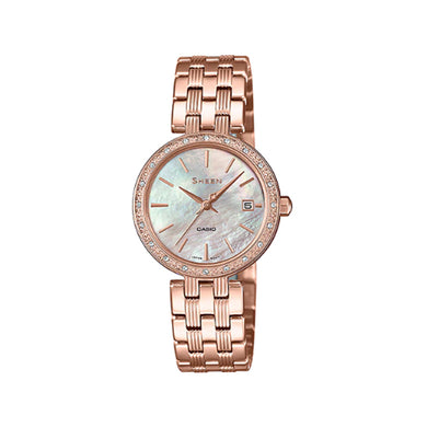 Casio Sheen with Swarovski® Crystals Rose Gold Ion Plated Stainless Steel Band Watch SHE4060PG-4A SHE-4060PG-4A
