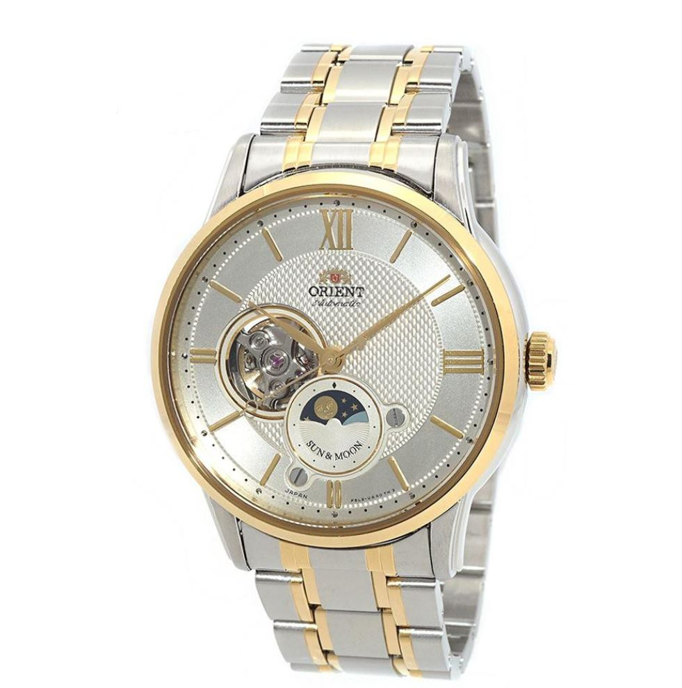 Orient Men's Sun & Moon Open Heart Automatic Two Tone Stainless Steel Strap Watch RA-AS0001S00B  | Watchspree