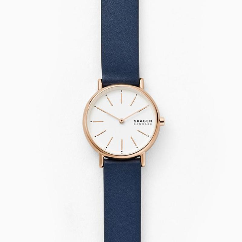 Skagen Ladies' Signatur Two Hand Blue Leather Watch SKW2838