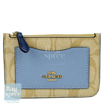 Load image into Gallery viewer, Coach Zip Top Card Case In Colourblock Signature Canvas Brown, Blue F67545 IMABT