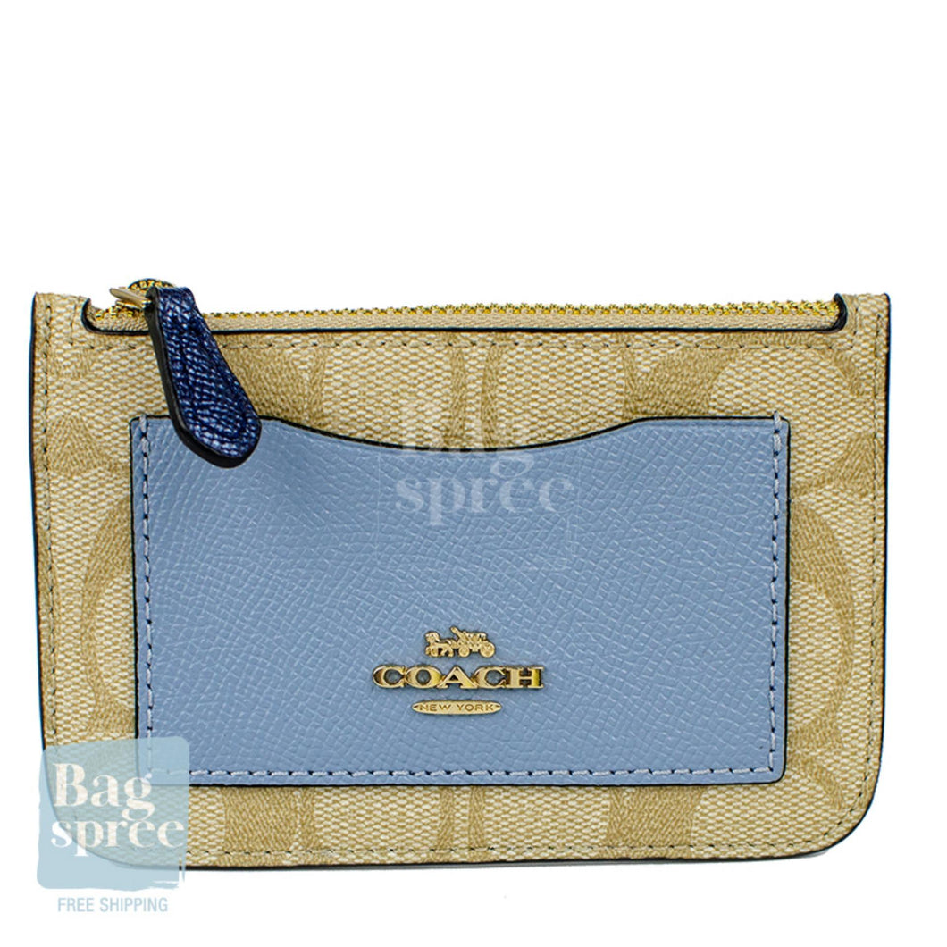 Coach Zip Top Card Case In Colourblock Signature Canvas Brown, Blue F67545 IMABT