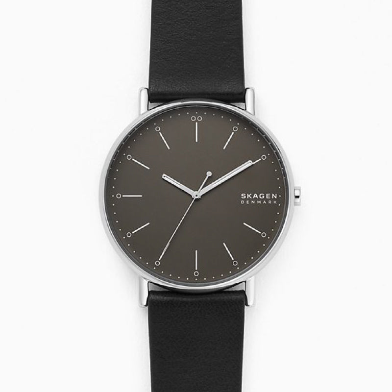 Skagen Men's Signature Black Leather Watch SKW6528