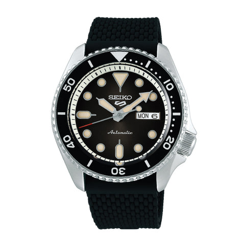 Seiko 5 Sports Automatic Black Silicon Strap Watch SRPD73K2