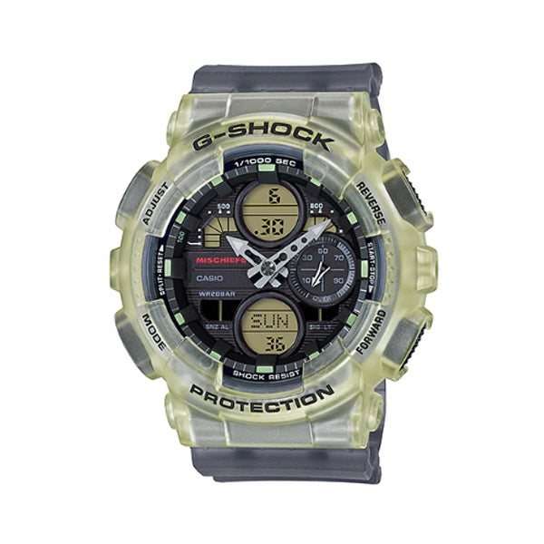 Casio G-Shock for Ladies' GMA-S140 Lineup MISCHIEF Collaboration Model Semi-Transparent Black Resin Band Watch GMAS140MC-1A GMA-S140MC-1A