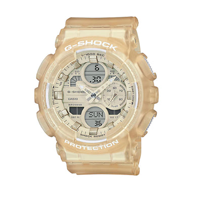 Casio G-Shock S Series for Ladies' GA-140 Lineup Semi-Transparent Off-White Resin Band Watch GMAS140NC-7A GMA-S140NC-7A