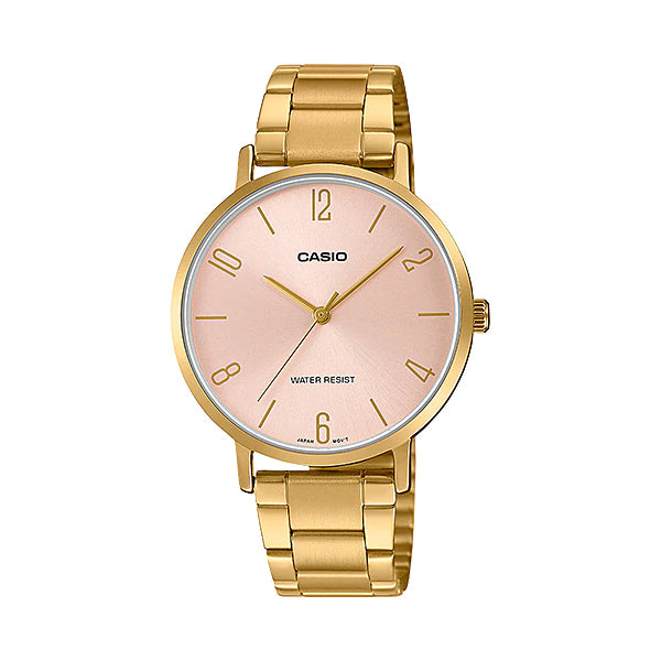 Casio Ladies' Analog Gold Ion Plated Stainless Steel Band Watch LTPVT01G-4B LTP-VT01G-4B