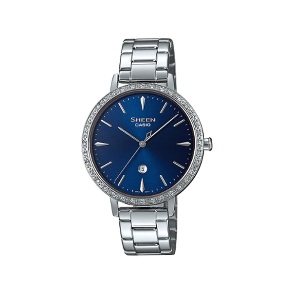 Casio Sheen Sapphire Crystal Lineup with Swarovski® Crystals Stainless Steel Band Watch SHE4535YD-2A SHE-4535YD-2A