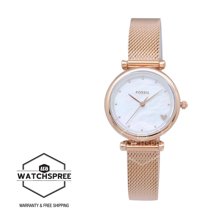 Fossil Ladies' Carlie Mini Three-Hand Rose Gold Tone Stainless Steel Watch ES4505