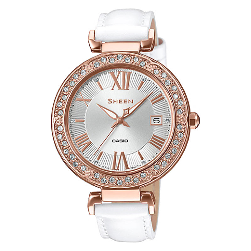 Casio Sheen 3-Hand Analog with Swarovski¨ Crystals White Genuine Leather Band Watch SHE4057PGL-7A SHE-4057PGL-7A