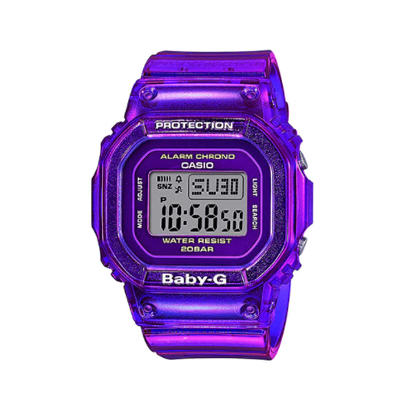 Casio Baby-G Popular Square Face BGD-560 Series in Summer Colours Purple Semi Transparent Band Watch BGD560S-6D BGD-60S-6D BGD-560S-6