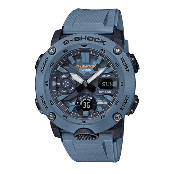 Casio G-Shock Carbon Core Guard Structure Blue Resin Band Watch GA2000SU-2A GA-2000SU-2A