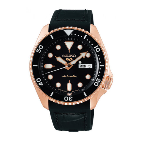 [JDM] Seiko 5 Sports (Japan Made) Automatic Black Silicone Leather Strap Watch SBSA028
