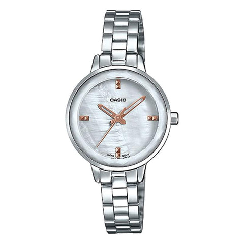 Casio Ladies' Analog Silver Stainless Steel Band Watch LTPE162D-7A LTP-E162D-7A | Watchspree