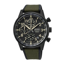 Load image into Gallery viewer, Seiko Chronograph Olive Green/Black Polyurethane Strap Watch SSB373P1