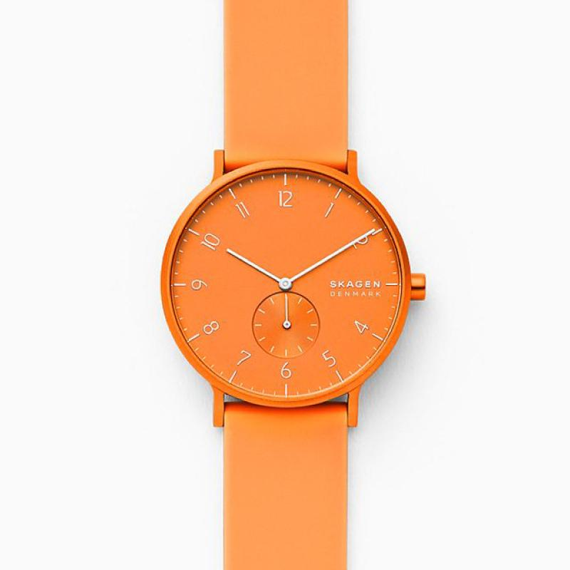 Skagen Aaren Kulor Neon Orange Silicone 41mm Watch SKW6558