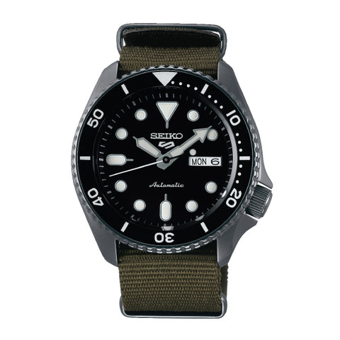 Seiko 5 Sports Automatic Green Nylon Strap Watch SRPD65K4