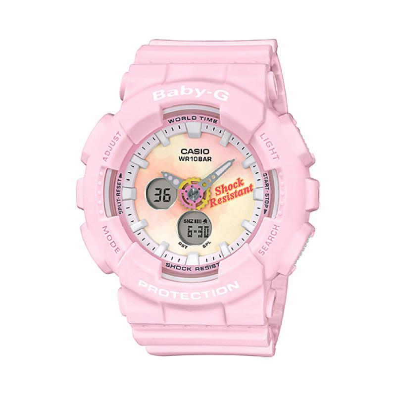 Casio Baby-G Standard Analog-Digital Beach Fashions Pink Resin Band Watch BA120TG-4A BA-120TG-4A | Watchspree