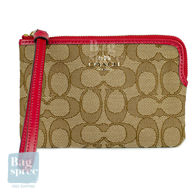 Coach Corner Zip Wristlet Brown, Red F58033 IMDQ4