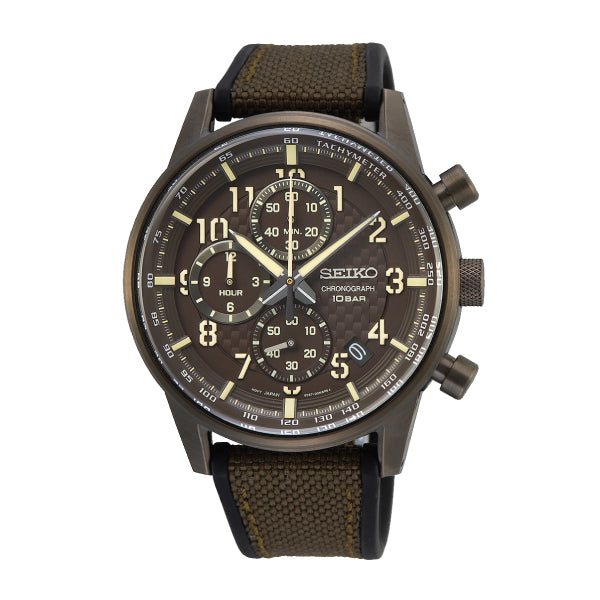 Seiko Chronograph Black/Brown Polyurethane Strap Watch SSB371P1