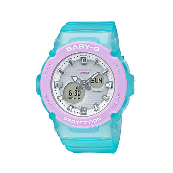 Casio Baby-G BGA270 Series in Pastel Colours Semi-Transparent Blue Resin Band Watch BGA270-2A BGA-270-2A
