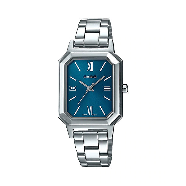 Casio Ladies' Analog Stainless Steel Band Watch LTPE168D-2B LTP-E168D-2B