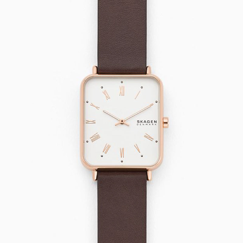 Skagen Men's Ryle Two Hand Brown Leather Watch SKW6618