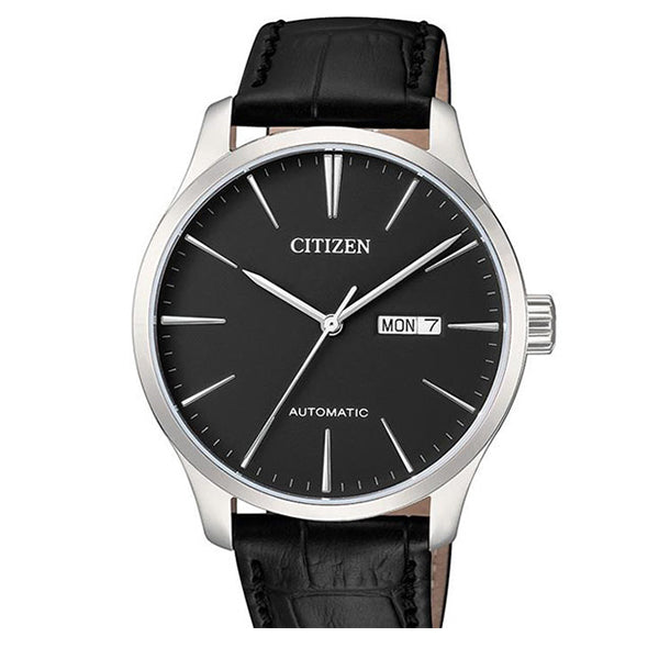 Citizen Automatic Black Leather Strap Watch NH8350-08E