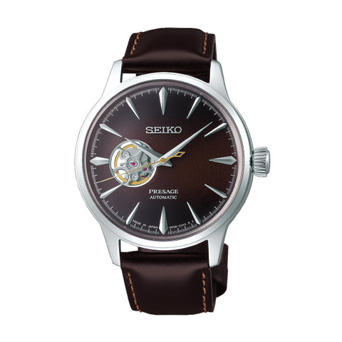 Seiko Presage (Japan Made) Open Heart Automatic Brown Calfskin Leather Strap Watch SSA407J1 | Watchspree