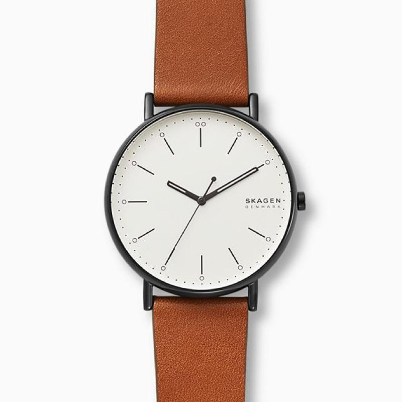 Skagen Men's Signatur Brown Leather Watch SKW6550