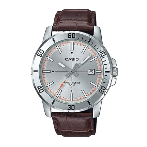 Casio Men's Diver Look Brown Leather Strap Watch MTPVD01L-8E MTP-VD01L-8E