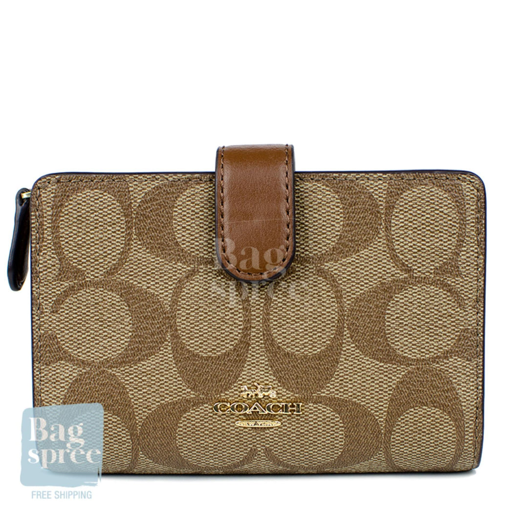 Coach Medium Corner Zip Wallet Brown F23553 IME74