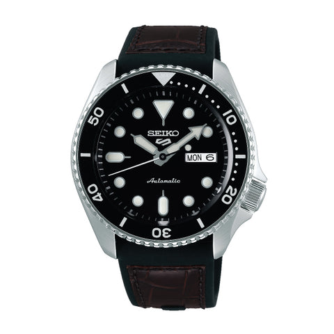 Seiko 5 Sports Automatic Black/Brown Silicone Strap Watch SRPD55K2