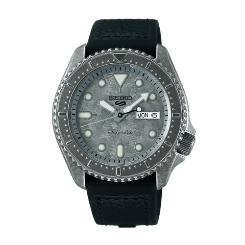 Seiko 5 Sports Automatic Black Calfskin + Silicone Strap Watch SRPE79K1
