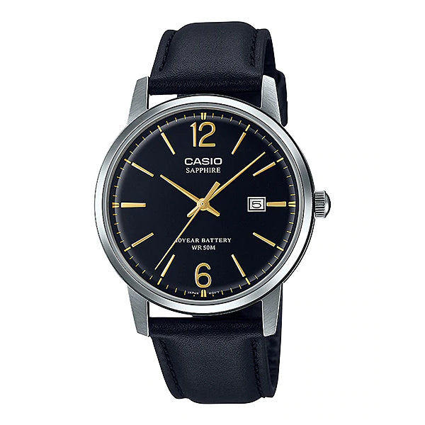 Casio Men's Analog Black Leather Strap Watch MTS110L-1A MTS-110L-1A