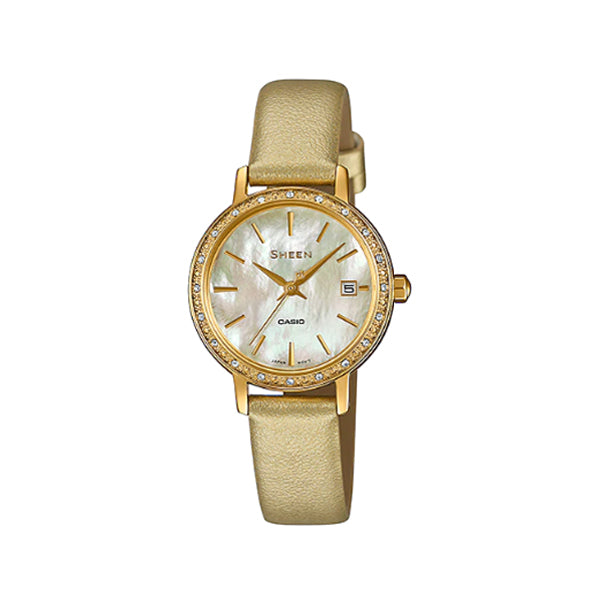 Casio Sheen with Swarovski® Crystals Gold Leather Strap Watch SHE4060GL-9A SHE-4060GL-9A