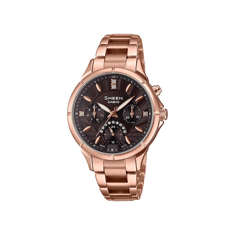 Casio Sheen Multi-Hand Series with Swarovski® Crystals Rose Gold Stainless Steel Band Watch SHE3047PG-5A SHE-3047PG-5A | Watchspree