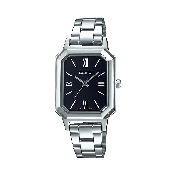 Casio Ladies' Analog Stainless Steel Band Watch LTPE168D-1B LTP-E168D-1B