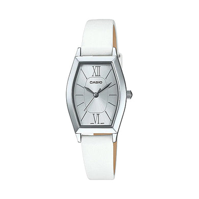 Casio Ladies' Analog White Leather Band Watch LTPE167L-7A LTP-E167L-7A