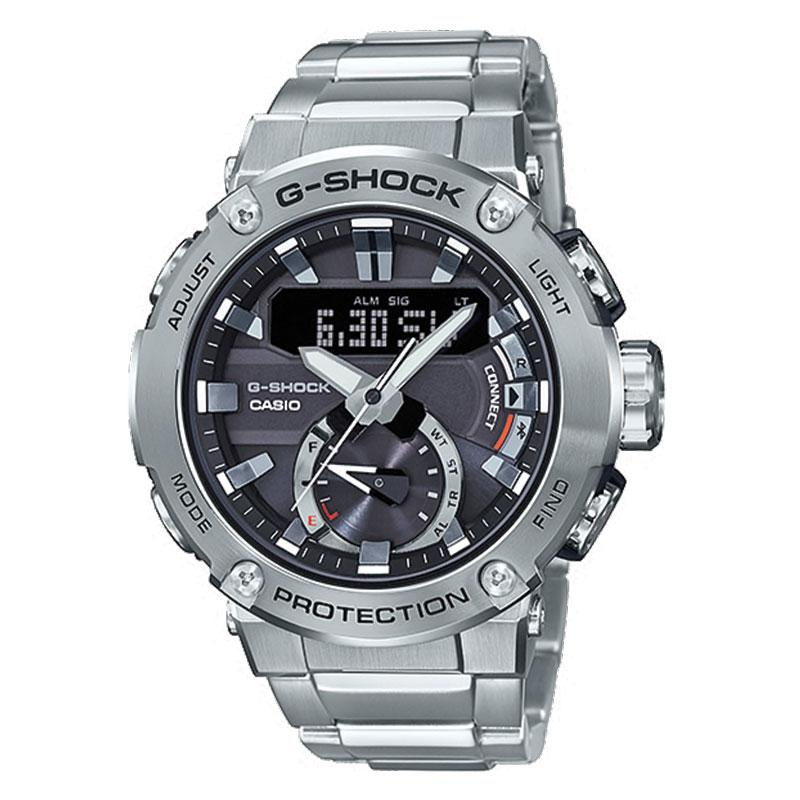Casio G-Shock G-Steel Carbon Core Guard Structure Silver Stainless Steel Band Watch GSTB200D-1A GST-B200D-1A | Watchspree