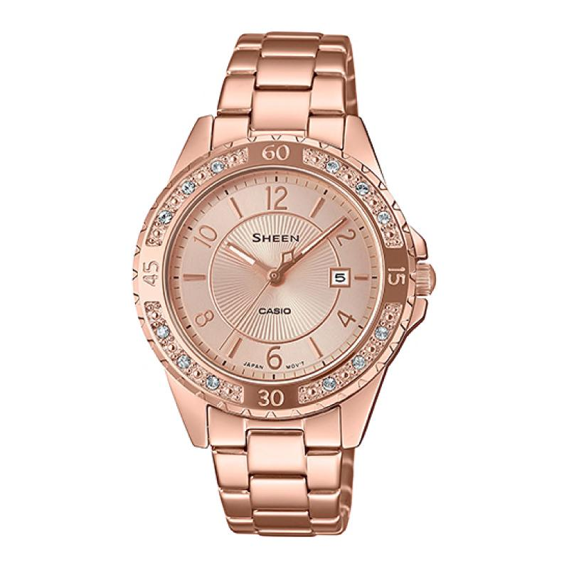 Casio Sheen Sapphire Crystal Lineup with Swarovski¨ Crystals Rose Gold Stainless Steel Band Watch SHE4532PG-4A SHE-4532PG-4A