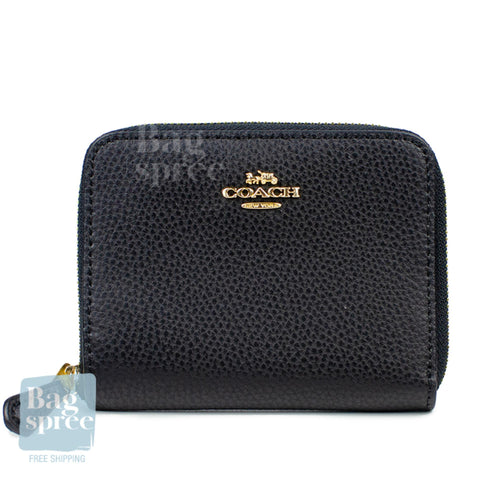 Coach Small Zip Around Leather Wallet Black F24808 IMBLK