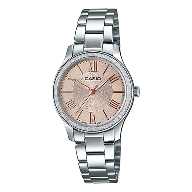 Casio Ladies' Analog Silver Stainless Steel Band Watch LTPE164D-9A LTP-E164D-9A