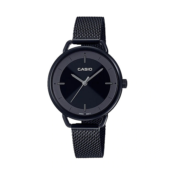 Casio Ladies' Analog Black Ion Plated Stainless Steel Mesh Band Watch LTPE413MB-1A LTP-E413MB-1A