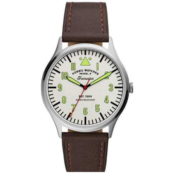 Fossil Men's  Forrester Three-Hand Brown Leather Watch FS5610