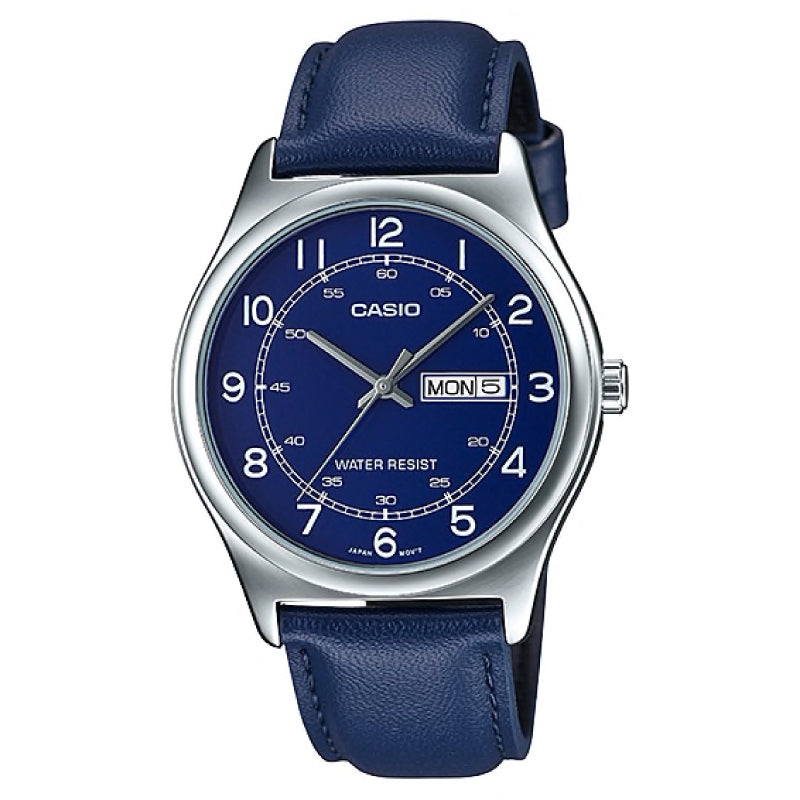 Casio Men's Standard Analog Blue Leather Strap Watch MTPV006L-2B MTP-V006L-2B