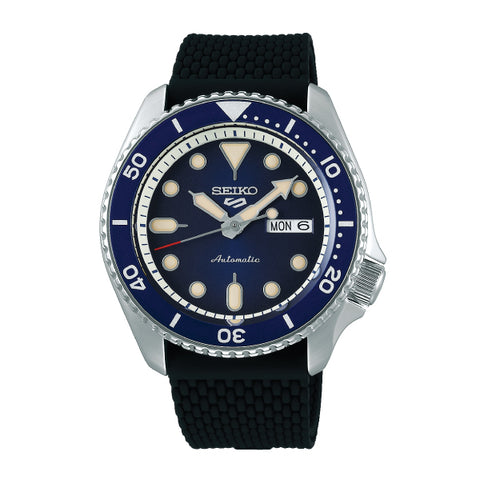Seiko 5 Sports Automatic Black Silicon Strap Watch SRPD71K2
